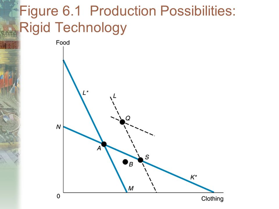 Figure 6.1 Production Possibilities: Rigid Technology