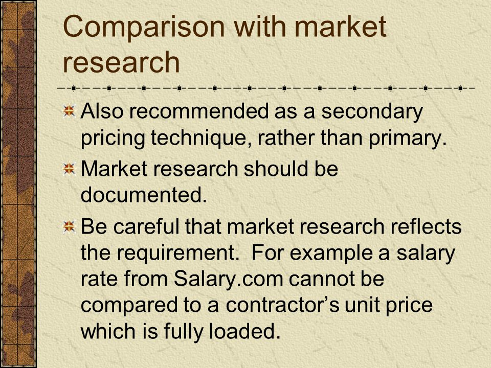 Comparison with market research