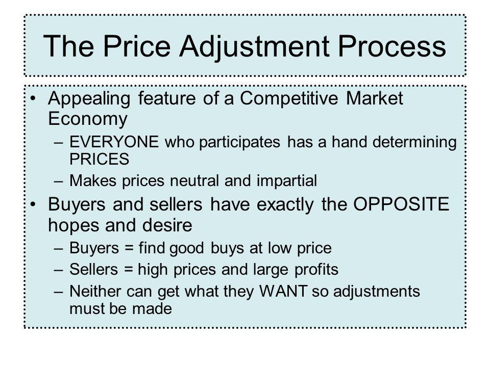 The Price Adjustment Process