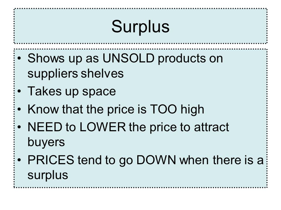 Surplus Shows up as UNSOLD products on suppliers shelves