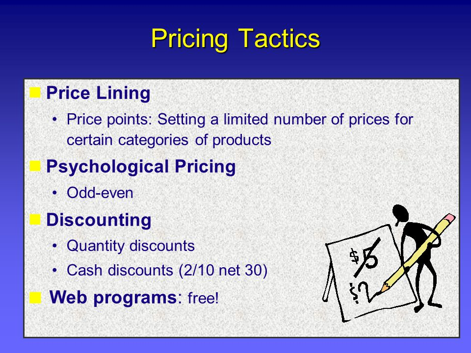 Pricing Tactics Price Lining Psychological Pricing Discounting