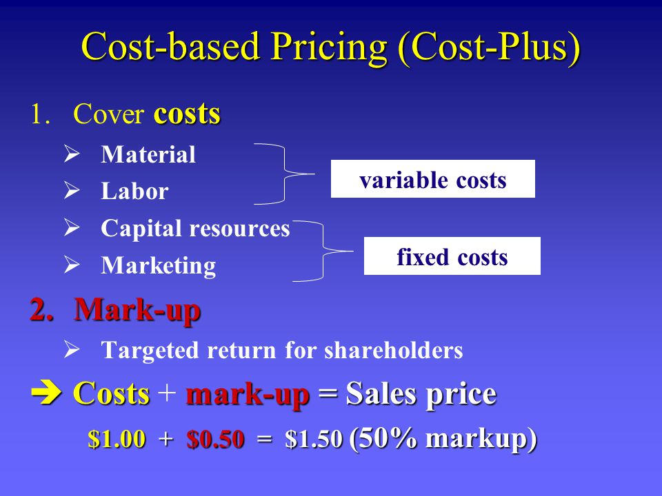 Cost-based Pricing (Cost-Plus)