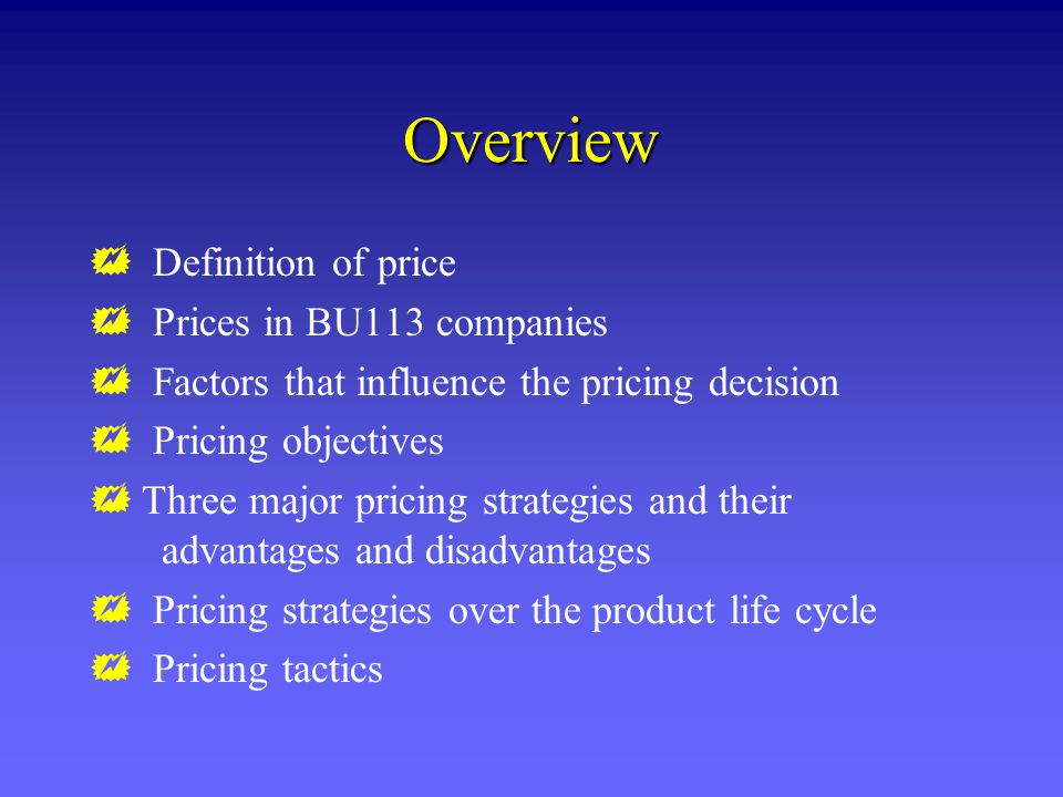 Overview Definition of price Prices in BU113 companies