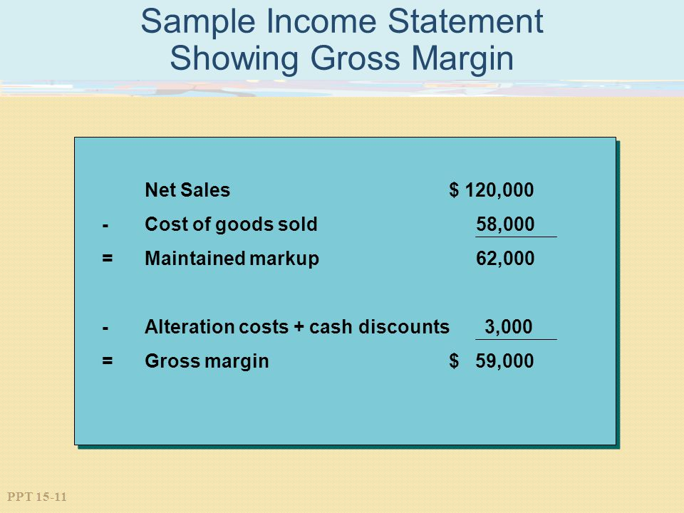 Sample Income Statement Showing Gross Margin