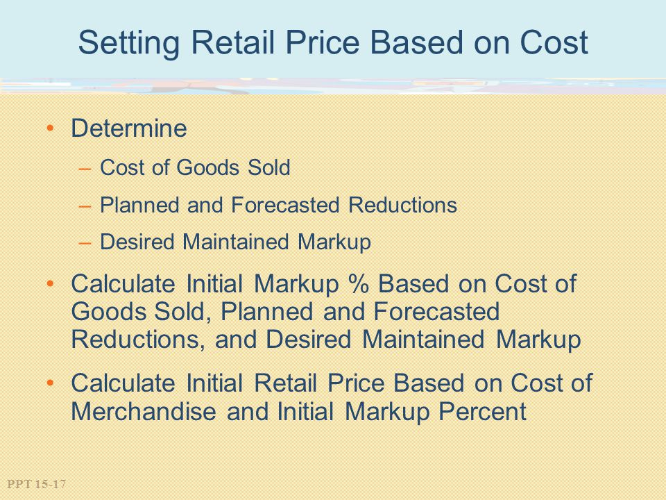Setting Retail Price Based on Cost