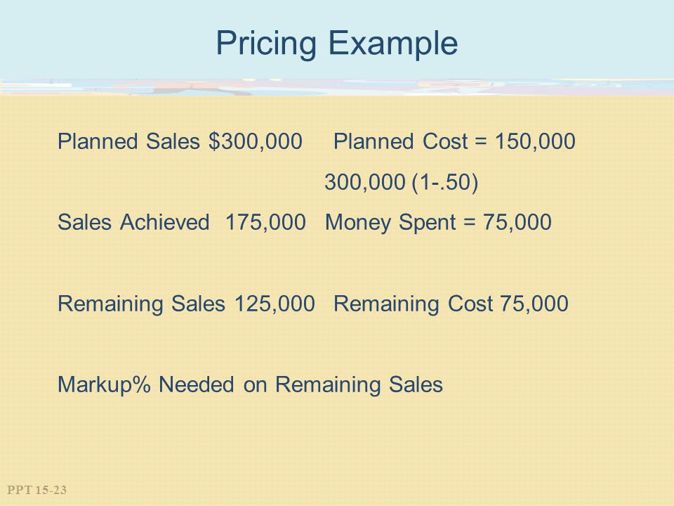 Pricing Example Planned Sales $300,000 Planned Cost = 150,000