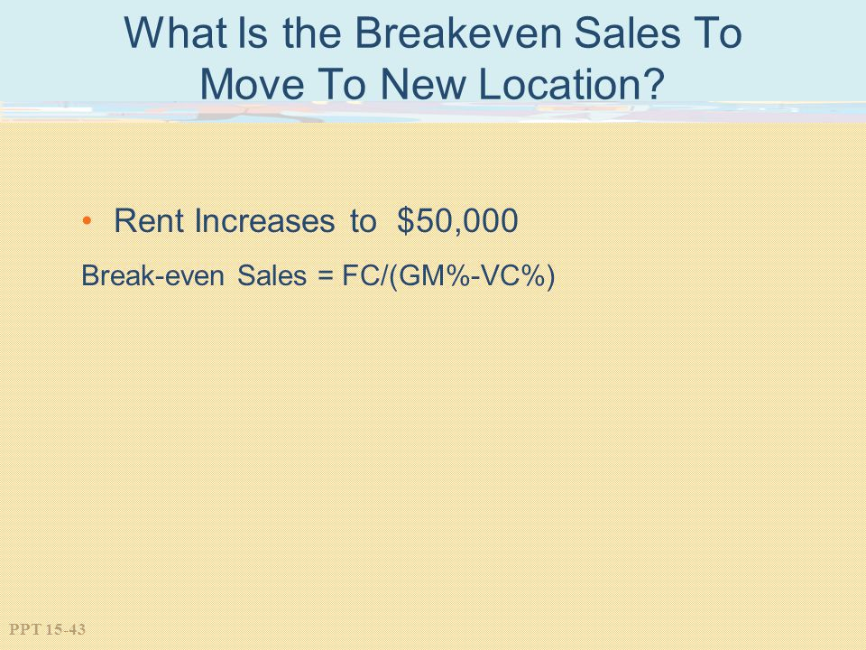 What Is the Breakeven Sales To Move To New Location