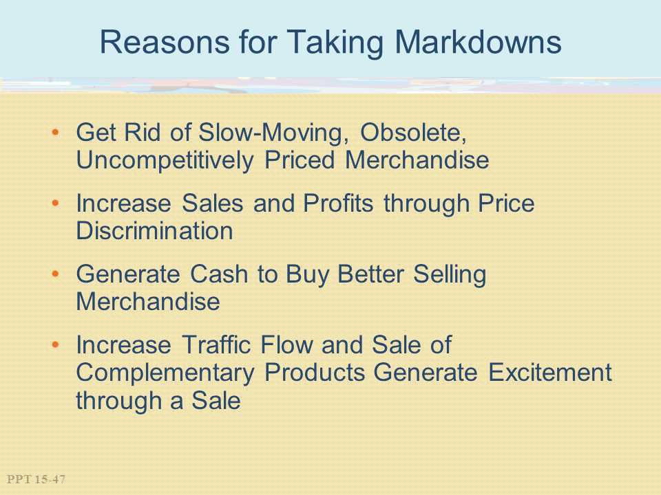 Reasons for Taking Markdowns