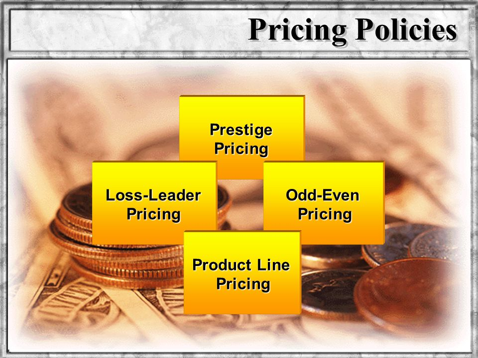 Pricing Policies Prestige Pricing Loss-Leader Pricing Odd-Even Pricing