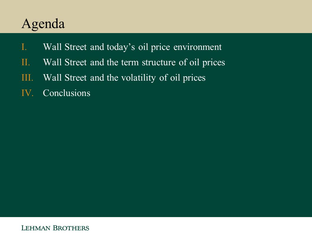 Agenda Wall Street and today's oil price environment