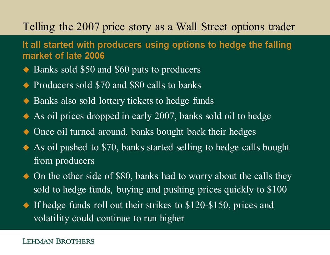 Telling the 2007 price story as a Wall Street options trader
