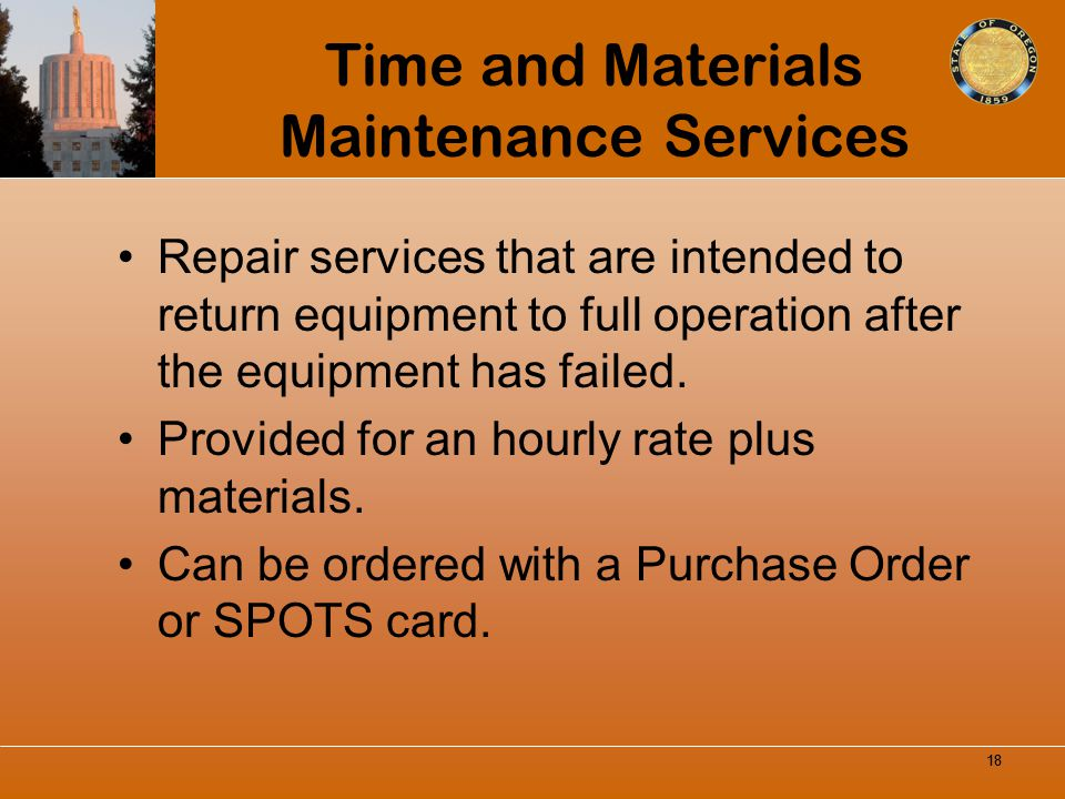 Time and Materials Maintenance Services