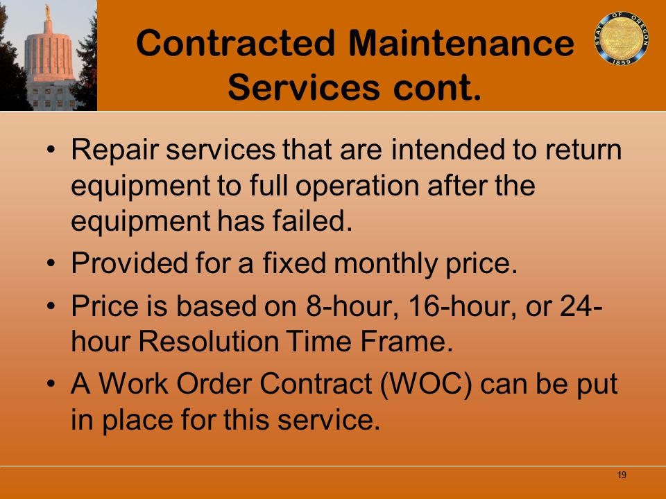 Contracted Maintenance Services cont.