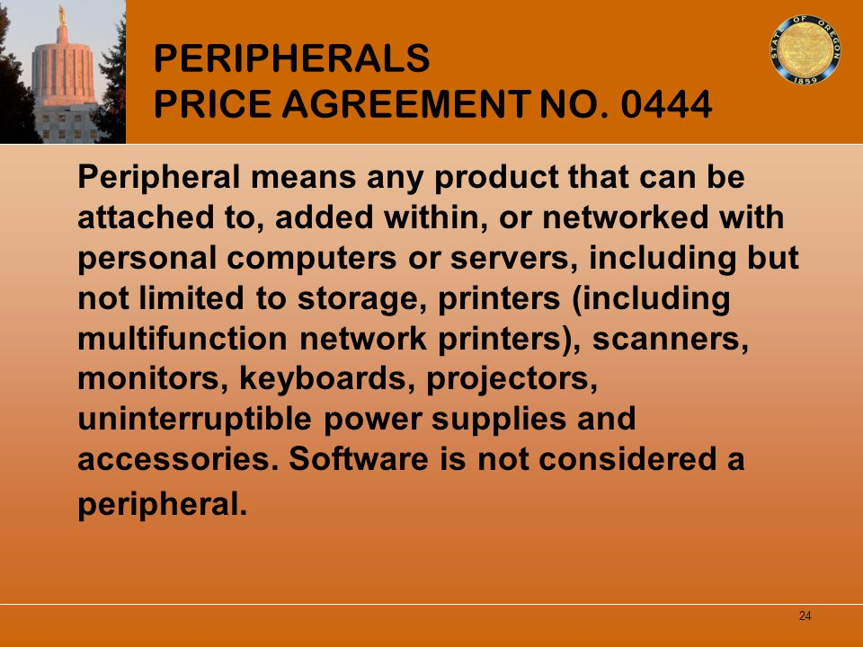 PERIPHERALS PRICE AGREEMENT NO. 0444