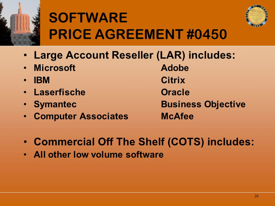 SOFTWARE PRICE AGREEMENT #0450