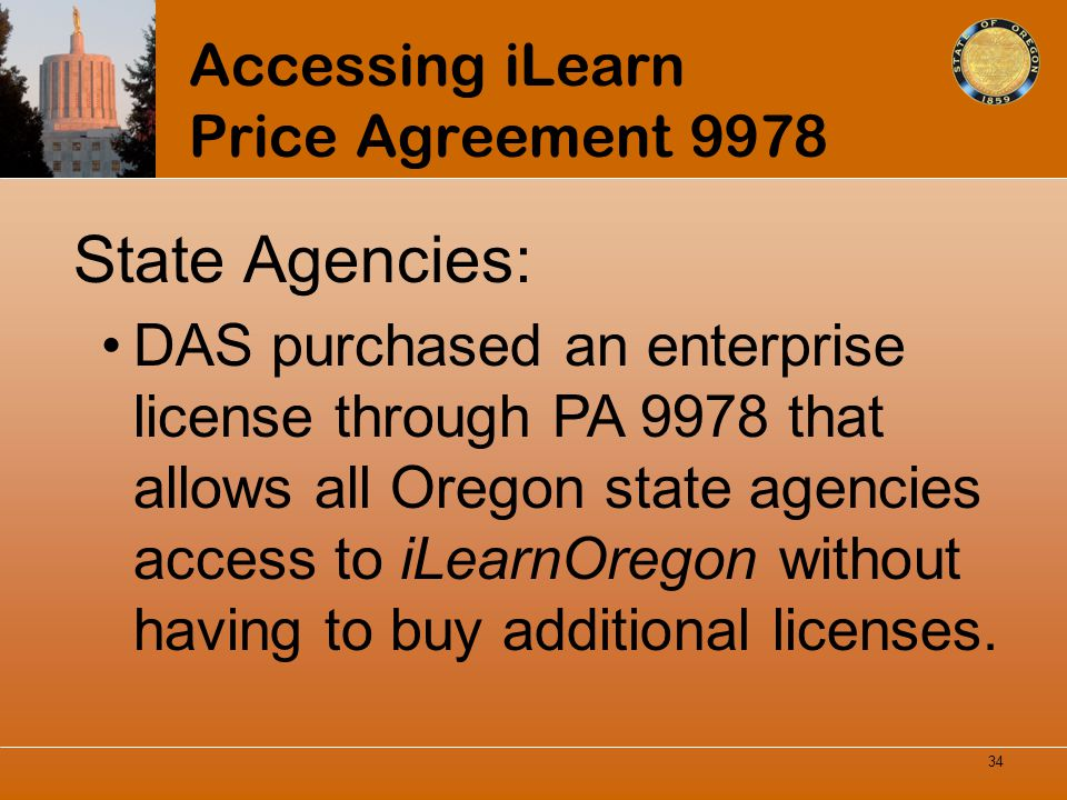 Accessing iLearn Price Agreement 9978