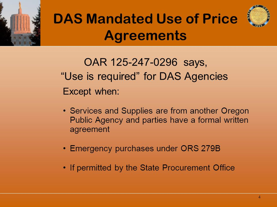 DAS Mandated Use of Price Agreements
