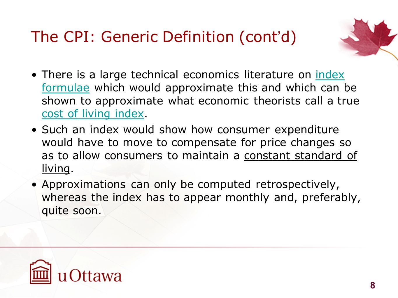 The Consumer Price Index and other price indexes - ppt ...