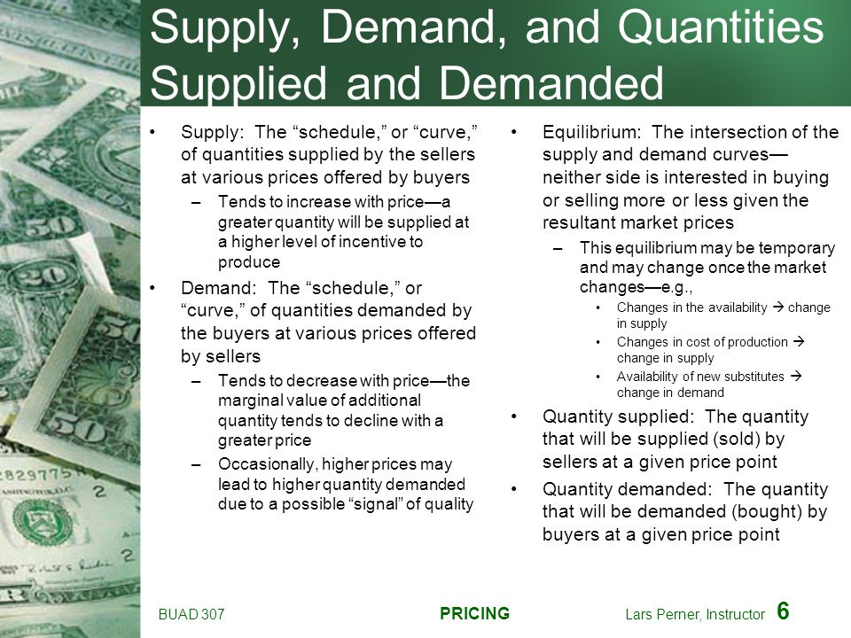 Supply, Demand, and Quantities Supplied and Demanded