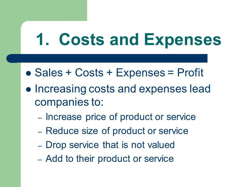 1. Costs and Expenses Sales + Costs + Expenses = Profit