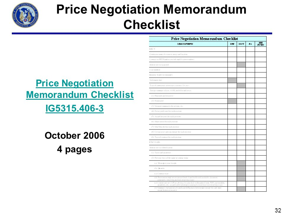 price negotiation memorandum template