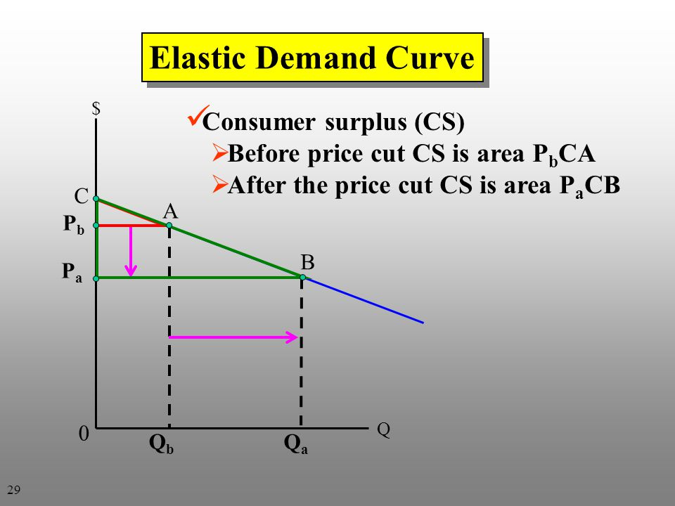 Elastic Demand Curve Consumer surplus (CS)