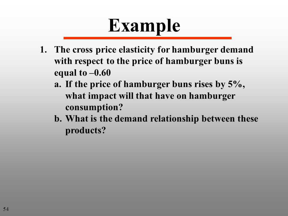 Example The cross price elasticity for hamburger demand with respect to the price of hamburger buns is equal to –0.60.