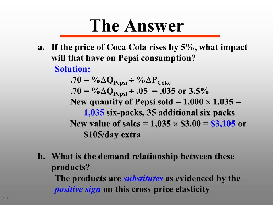 The Answer If the price of Coca Cola rises by 5%, what impact will that have on Pepsi consumption Solution: