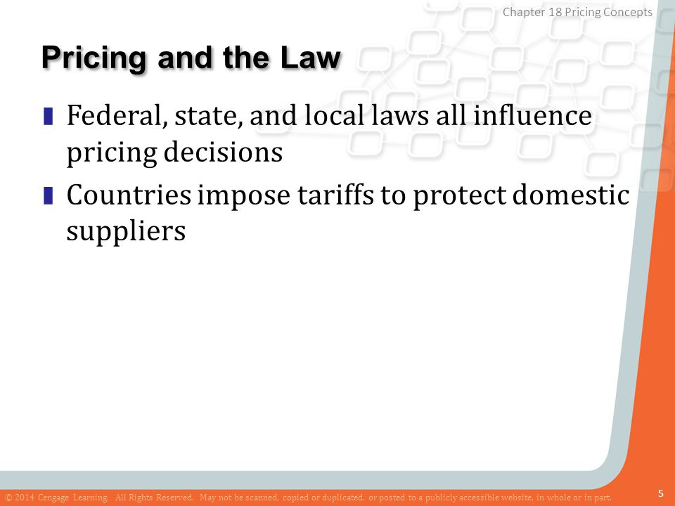 Pricing and the Law Federal, state, and local laws all influence pricing decisions.