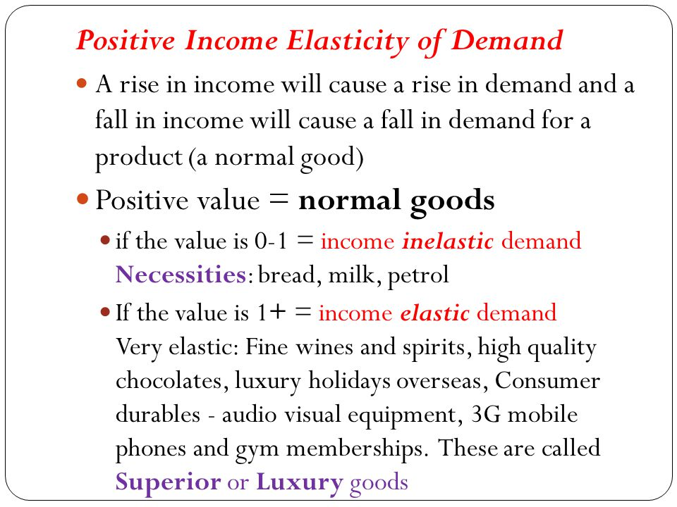 high income elasticity examples