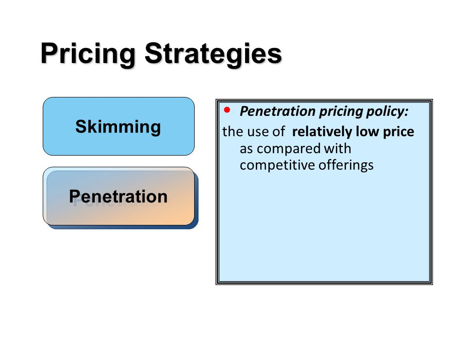 Pricing Strategies Skimming Penetration Penetration pricing policy: