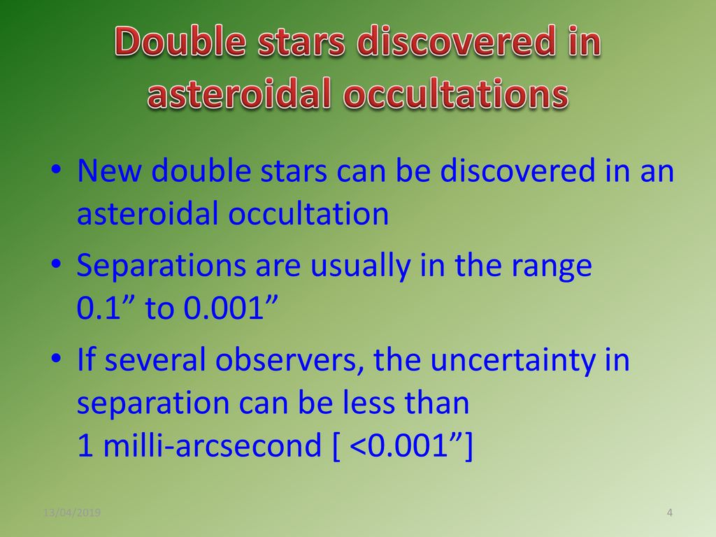 Asteroidal & Lunar Occultations: Results - ppt download