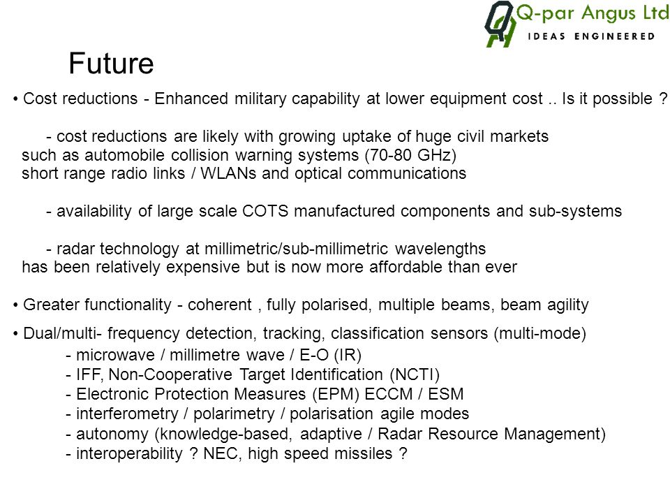 The role of active millimetre wave radar in defence