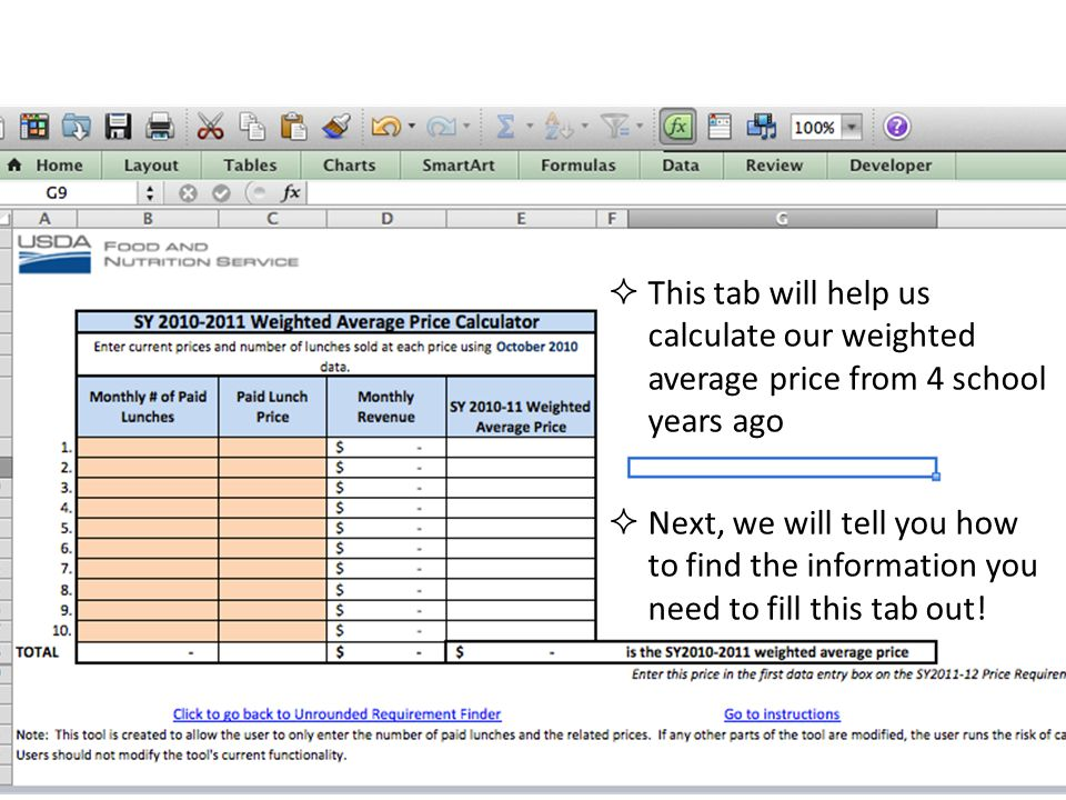 This tab will help us calculate our weighted average price from 4 school years ago