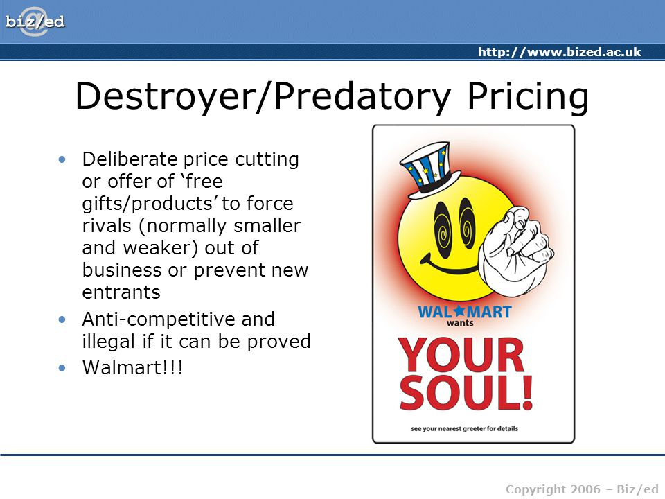 Destroyer/Predatory Pricing