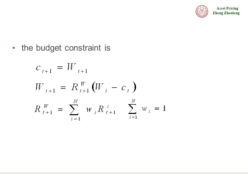 the budget constraint is
