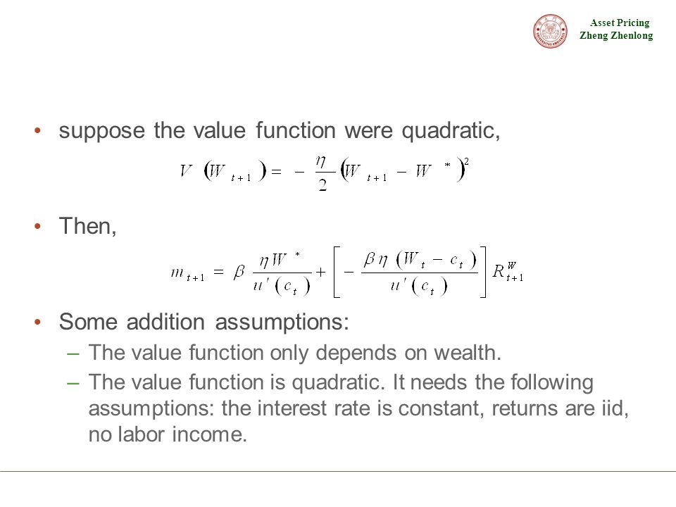 suppose the value function were quadratic,