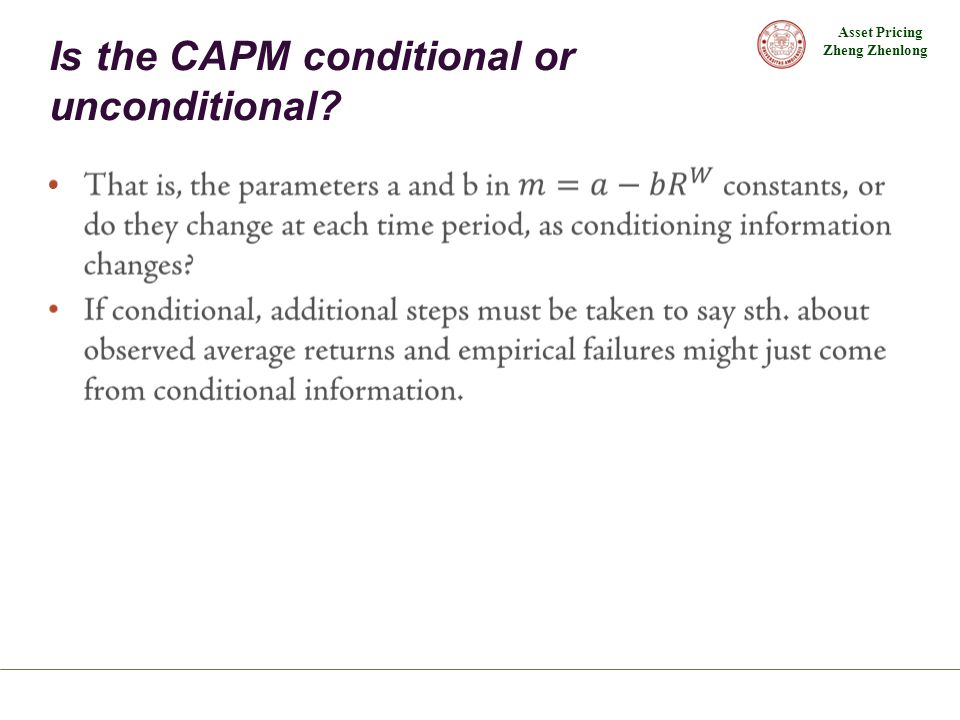 Is the CAPM conditional or unconditional