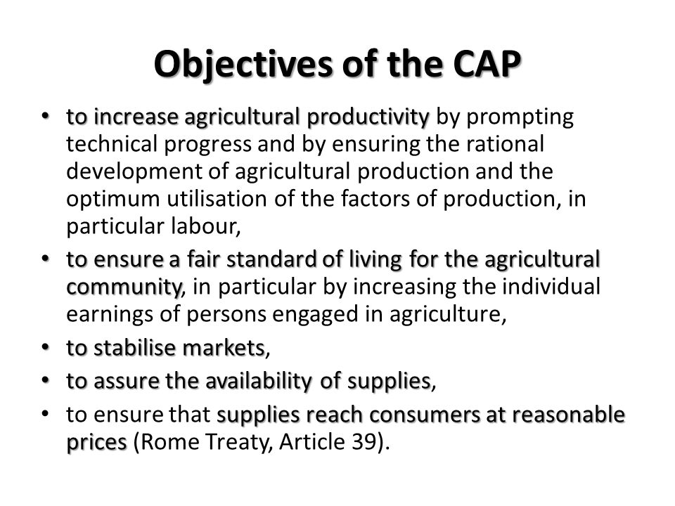 Objectives of the CAP
