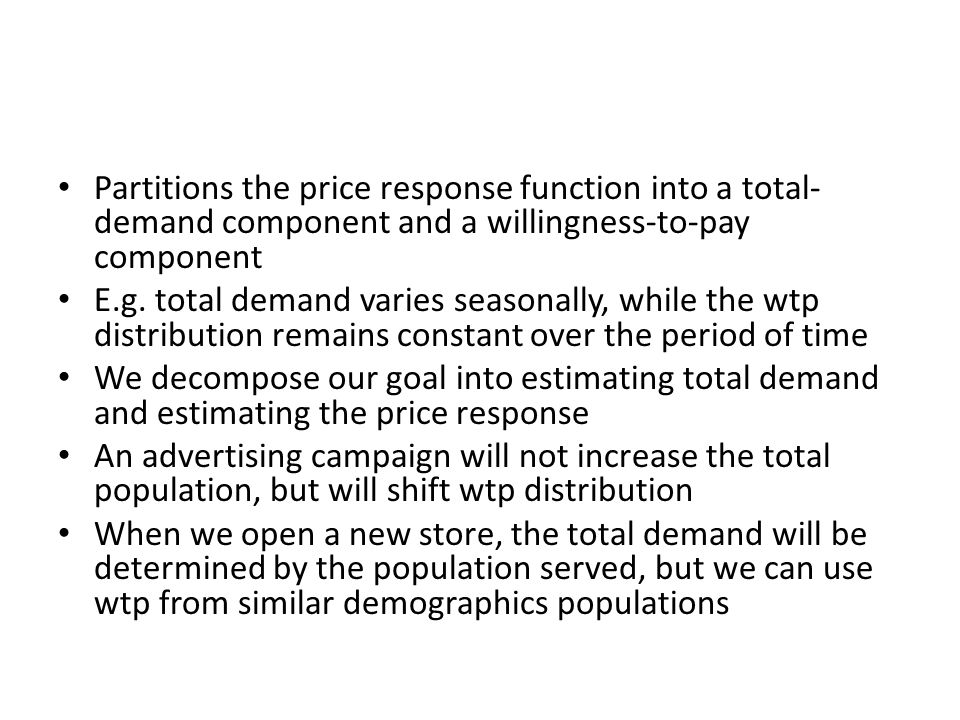 Partitions the price response function into a total-demand component and a willingness-to-pay component