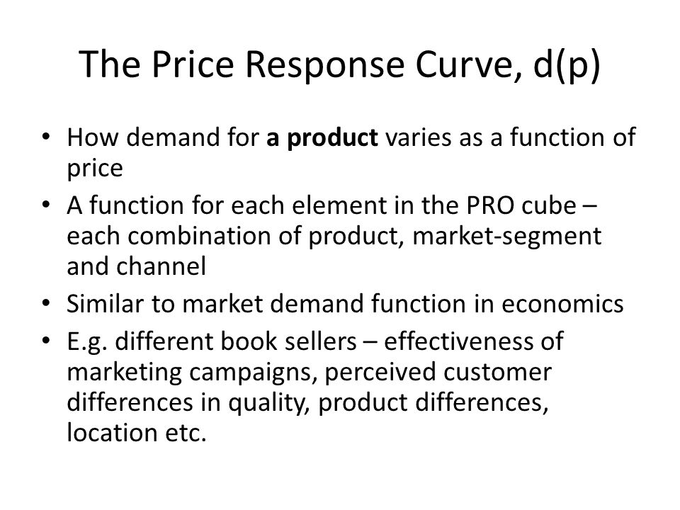 The Price Response Curve, d(p)