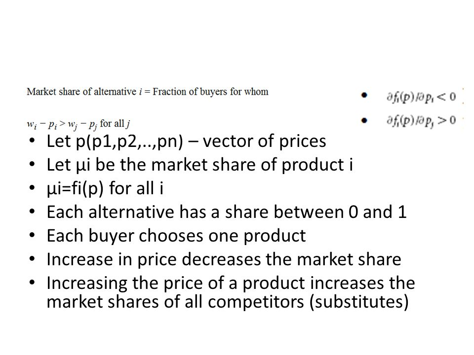 Let p(p1,p2,..,pn) – vector of prices