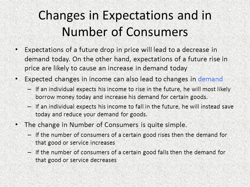 Changes in Expectations and in Number of Consumers