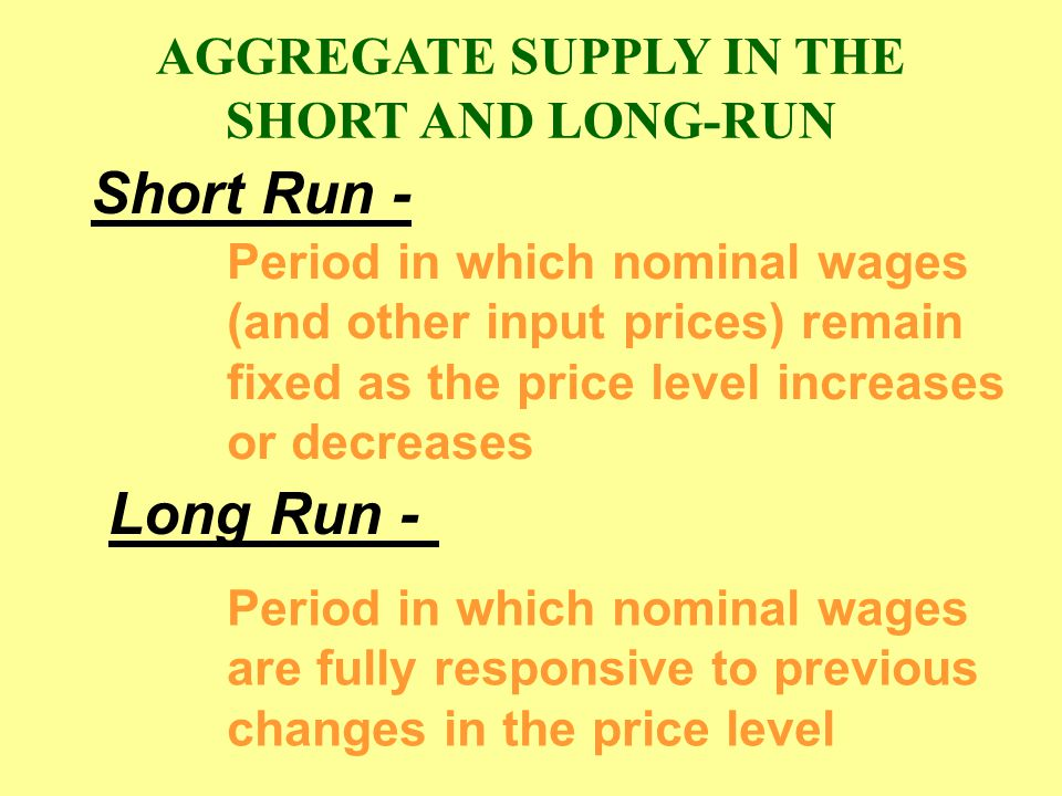 AGGREGATE SUPPLY IN THE