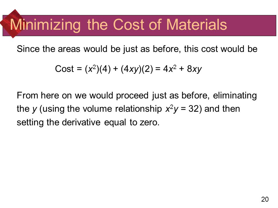 Minimizing the Cost of Materials