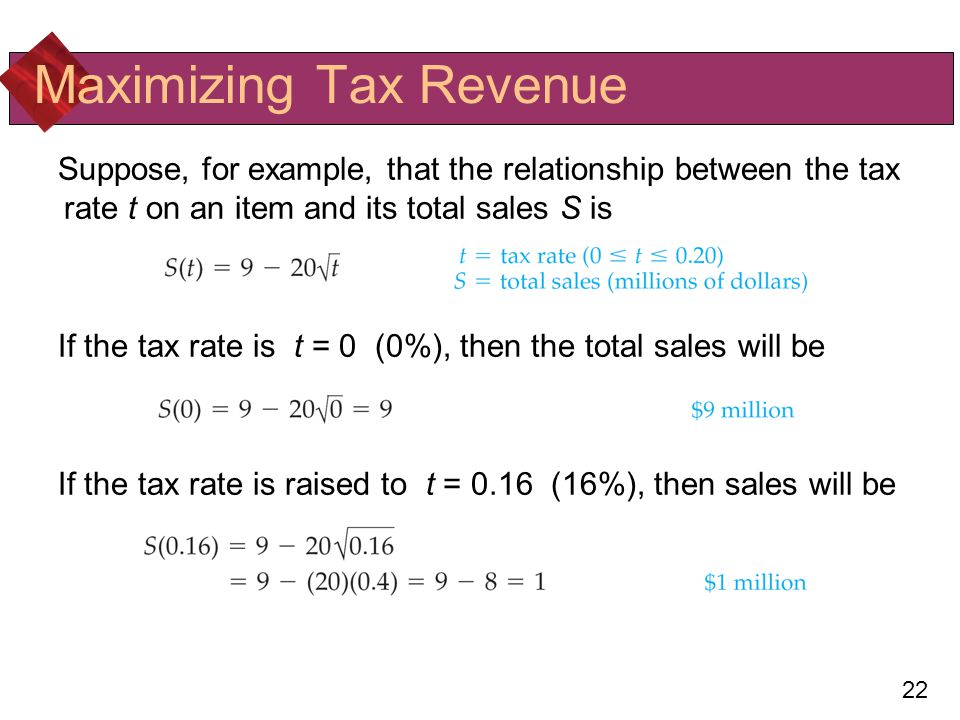 Maximizing Tax Revenue