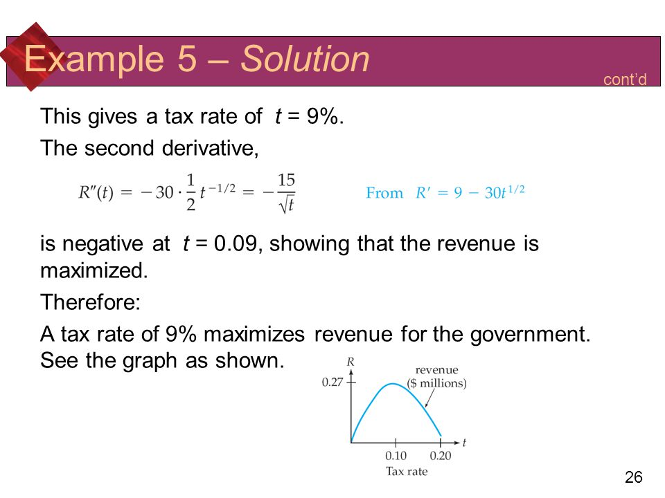 Example 5 – Solution This gives a tax rate of t = 9%.