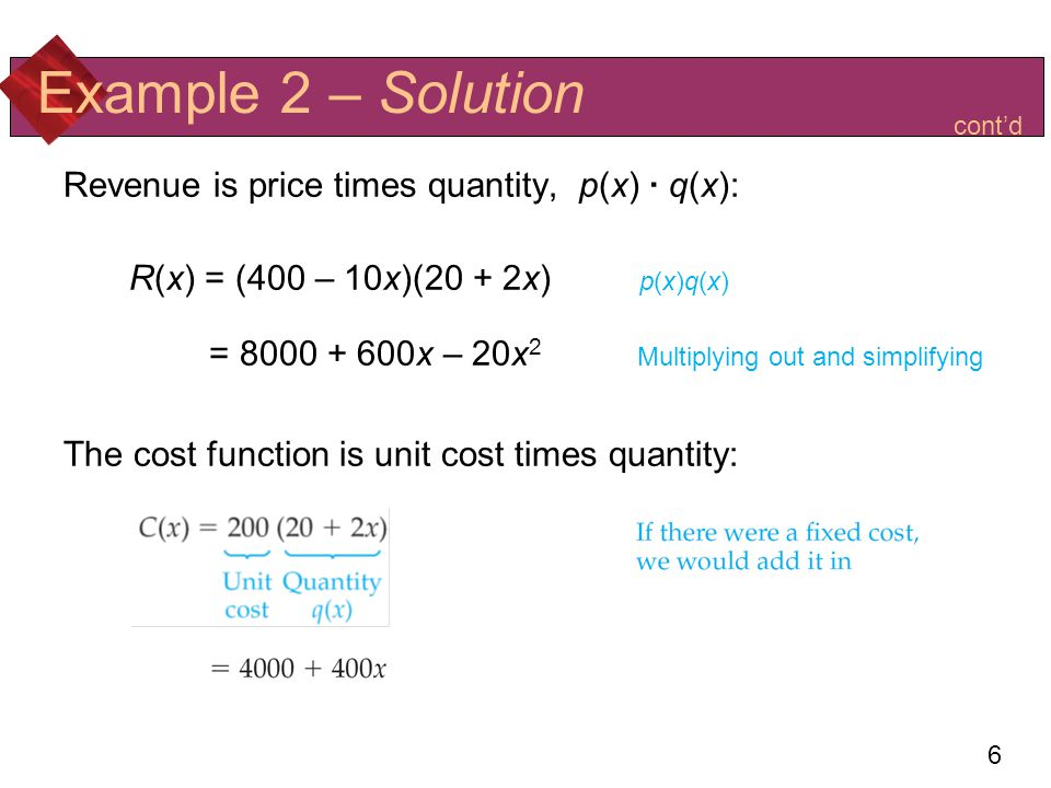 Example 2 – Solution Revenue is price times quantity, p(x) · q(x):
