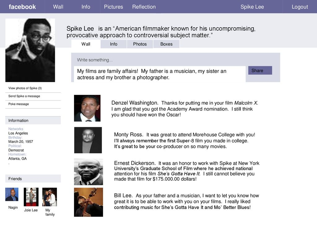 facebook Wall Info Pictures Reflection Spike Lee Logout