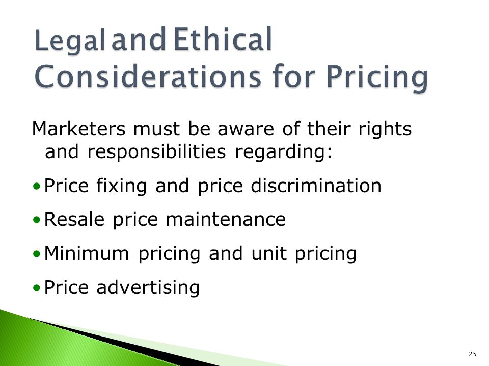 Legal and Ethical Considerations for Pricing